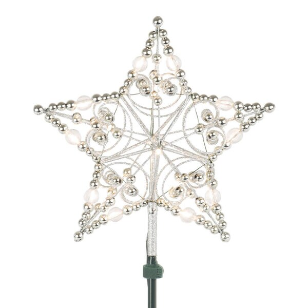 Silver Bead 12-inch LED Star Tree Top
