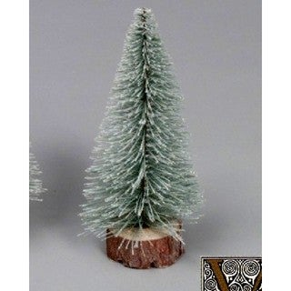"12"" Flocked Village Tree with Wooden Base"