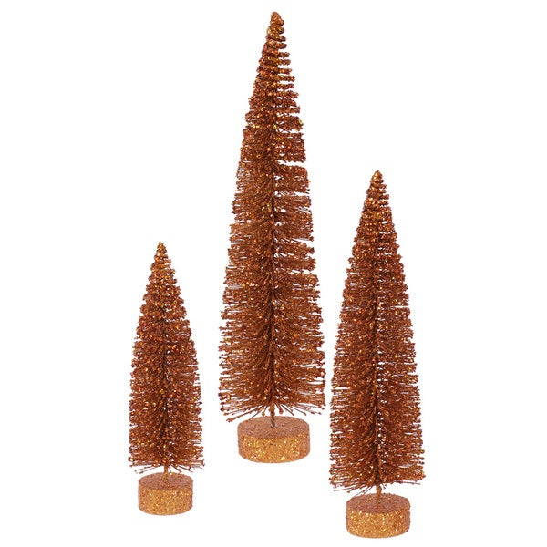 "12""-16""-20"" Copper Glitter Oval Tree Set"