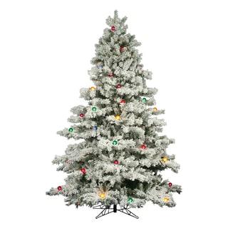 "9' x 73"" Flocked Alaskan Pine Tree with 900 Multi-Colored Lights abd 50 G50 Multi-Colored Lights"