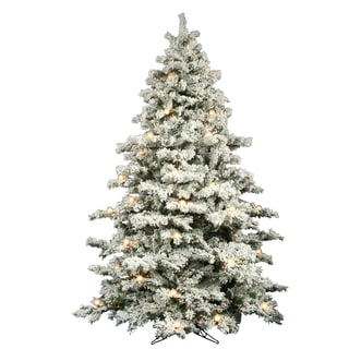 """9' x 73"""" Flocked Alaskan Pine Tree with 900 Clear Dura-Lit Lights and 50 G50 White Lights"""