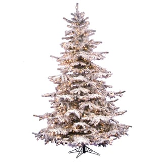 "12' x 75"" Flocked Sierra Tree with 1850 Clear Dura-Lit Lights"