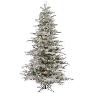 "12' x 75"" Flocked Sierra Tree with 1850 Warm White Italian LED Lights"
