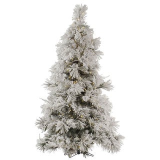 "9' x 68"" Flocked Pocono Pine Tree with 950 Warm White LED Mini Lights"