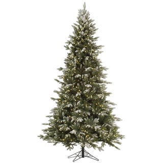"9' x 63"" Frosted Balsam Fir Tree with 1050 Clear Dura-Lit Lights"