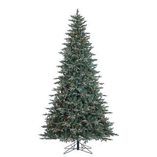 "9' x 63"" Crystal Balsam Fir Tree with 1000 Multi-Colored Dura-Lit Lights"