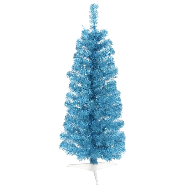 "2' x 11"" Sky Blue Pencil Tree with 35 Blue Mini Lights and 87 PVC Tips"