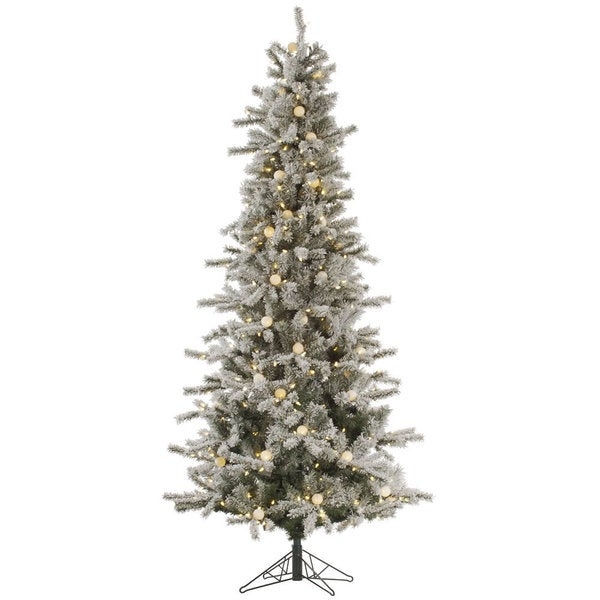 "9' x 49"" Flocked Slim London Fir Tree with 620 Warm White LED Lights"