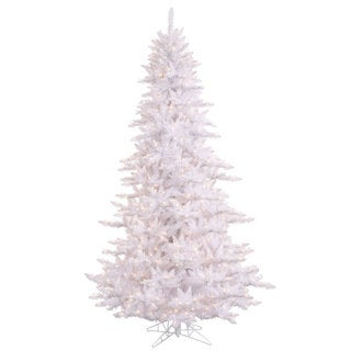 9' White Fir tree with 2326 PVC tips and 1000 clear mini lights