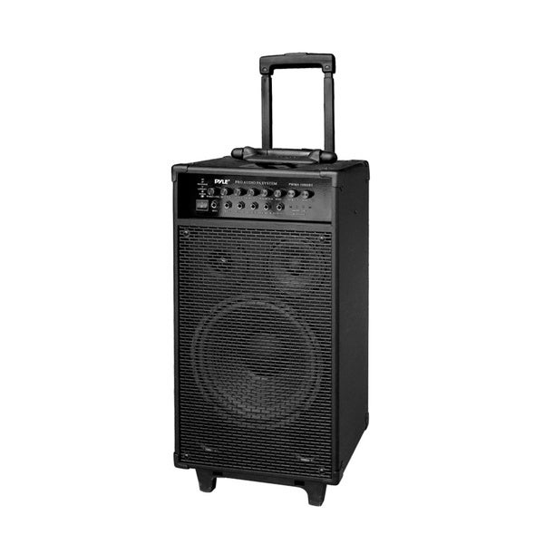 Pyle PWMA1080IBT 800-watt Wireless Rechargeable Portable Bluetooth PA Speaker System with Wireless Microphone and iPod Dock