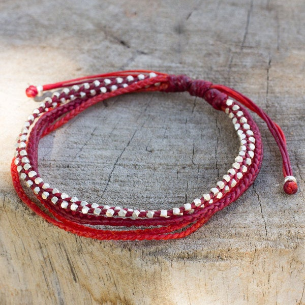 Handcrafted Silver 'Fiery Red' Bracelet (Thailand)