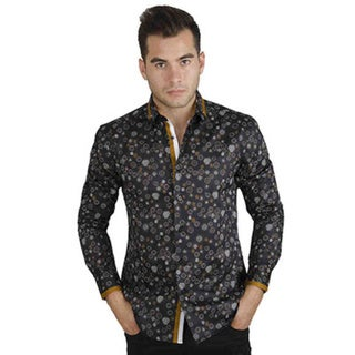 Men's Cotton Satin Grey/ Yellow Circle Print Shirt