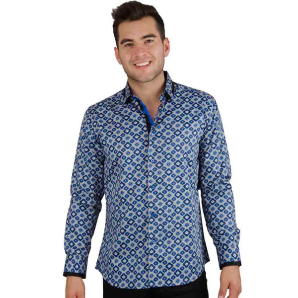 Men's Cotton Satin Blue Geometric Print Shirt