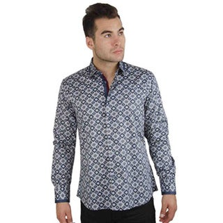 Men's Cotton Satin Grey Geometric Print Shirt