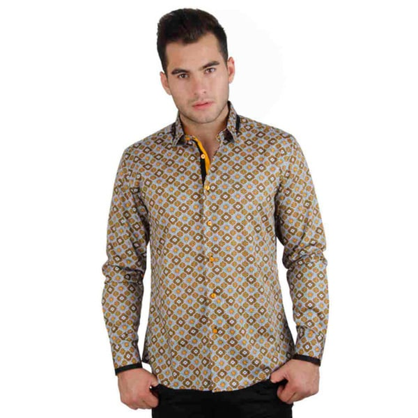 Men's Cotton Satin Yellow Geometric Print Shirt
