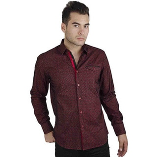Men's Cotton Satin Red Geometric Stripe Print Shirt