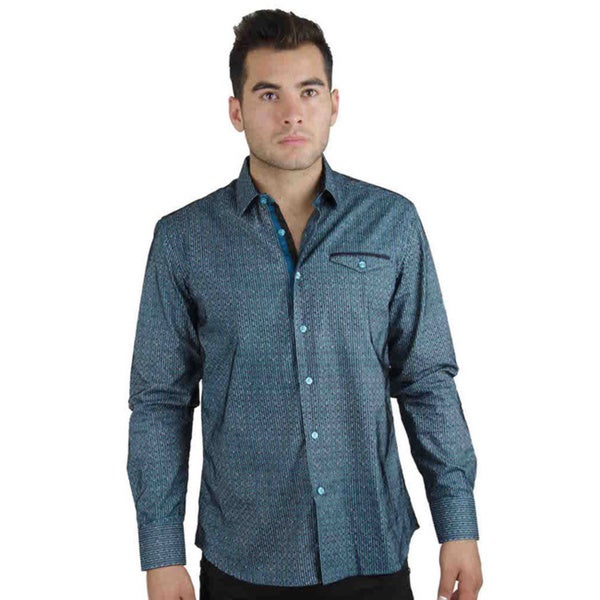 Men's Cotton Satin Blue Geometric Stripe Print Shirt