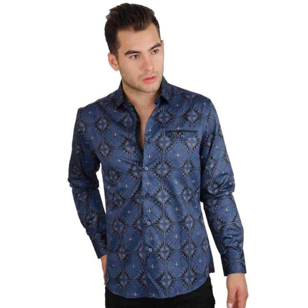 Men's Cotton Satin Blue/ Grey Print Shirt