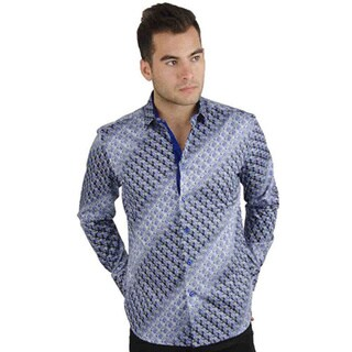 Men's Cotton Satin Purple/ Green Swirl Print Shirt