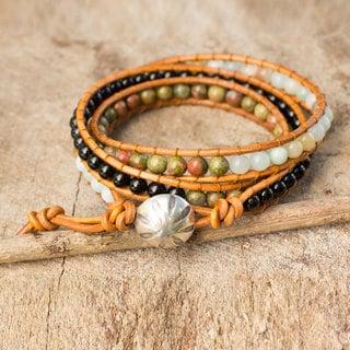 Leather Silver 'Karen Embrace' Multi-gemstone Bracelet (Thailand)