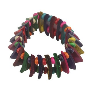 Handcrafted Sese Wood Coconut Shell 'Happy Mix' Bracelet (Ghana)