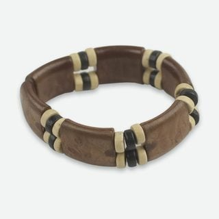 Handcrafted Sese Wood 'Coffee Connection' Bracelet (Ghana)