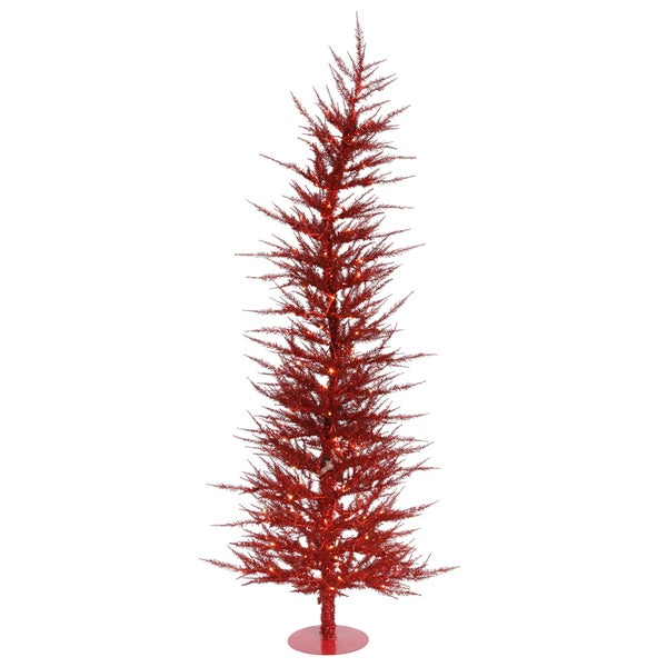 "3' x 17"" Red Laser Tree with 50 Clear Mini Lights and 445 PVC Tips"