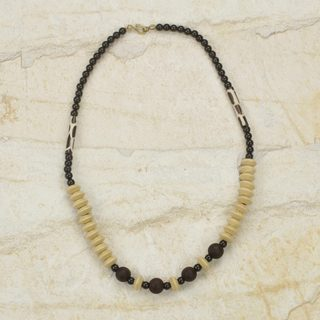 Handcrafted Sese Wood Bone 'Muse' Necklace (Ghana)