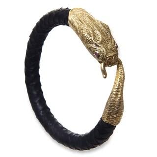 Men's Leather 'Golden Baru Klinting' Amethyst Bracelet (Indonesia)