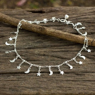 Handcrafted Sterling Silver 'Night Sky' Anklet (Thailand)