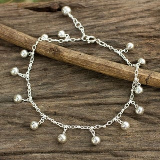 Handcrafted Sterling Silver 'Concerto' Anklet (Thailand)