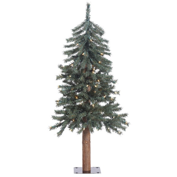 "3' x 22.5"" Natural Bark Alpine Tree with 70 Clear Lights"
