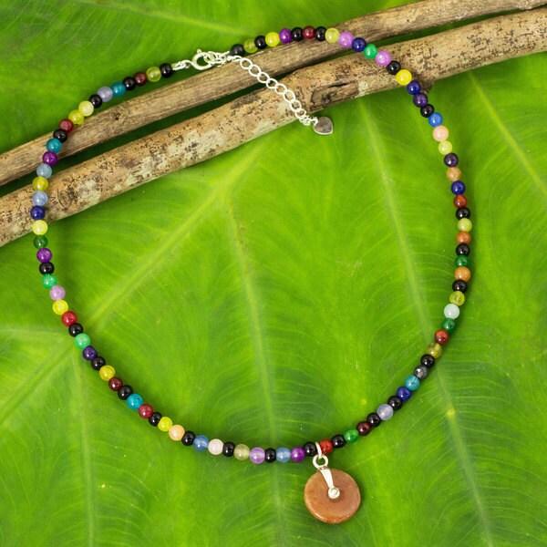 Sterling Silver 'Colorful Rainbow' Quartz Jade Choker (Thailand)