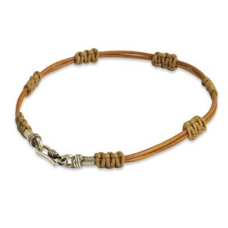 Men's Sterling Silver Leather 'Staccato in Tan' Bracelet (Thailand)