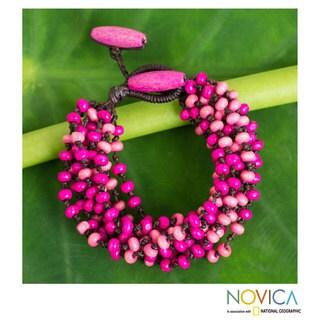 Handcrafted Littleleaf Wood 'Pink Orchid Duality' Bracelet (Thailand)