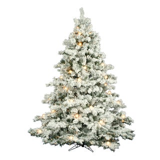 "7.5' x 68"" Flocked Alaskan Tree with Clear and White Lights"