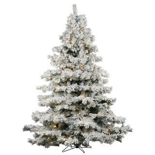 "7.5' x 68"" Flocked Alaskan Tree with 900 Warm White Italian LED Lights"