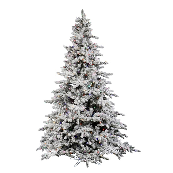 "7.5' x 65"" Flocked Utica Fir Tree with 700 Multi-Color Lights"