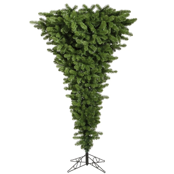 "7.5' x 60"" Green Upside Down Tree with 500 Dura-Lit Multi-Colored Lights"