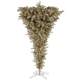 """7.5' x 60"""" Champagne Upside Down Tree with 500 Clear Dura-Lit Lights"""