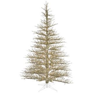 "7.5' x 60"" Champagne Stiff Needle tree with 600 Clear Mini Lights"
