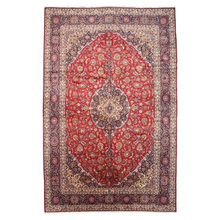 EORC Hand Knotted Wool Red Medallion Kashan Rug (12'10 x 19'6)