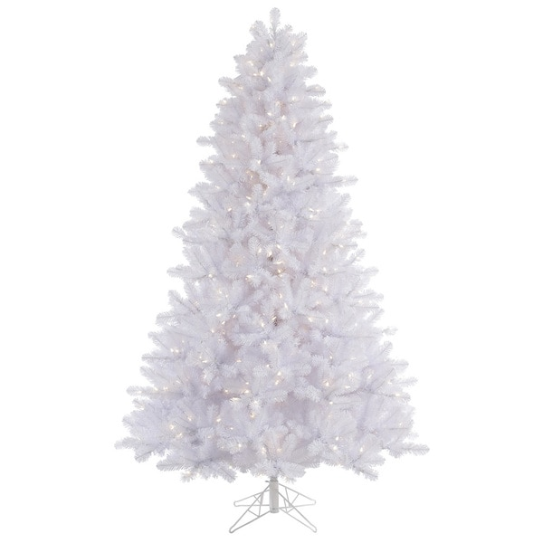 "7.5' x 55"" Crystal White Pine Tree with 650 Warm White Italian LED Lights"
