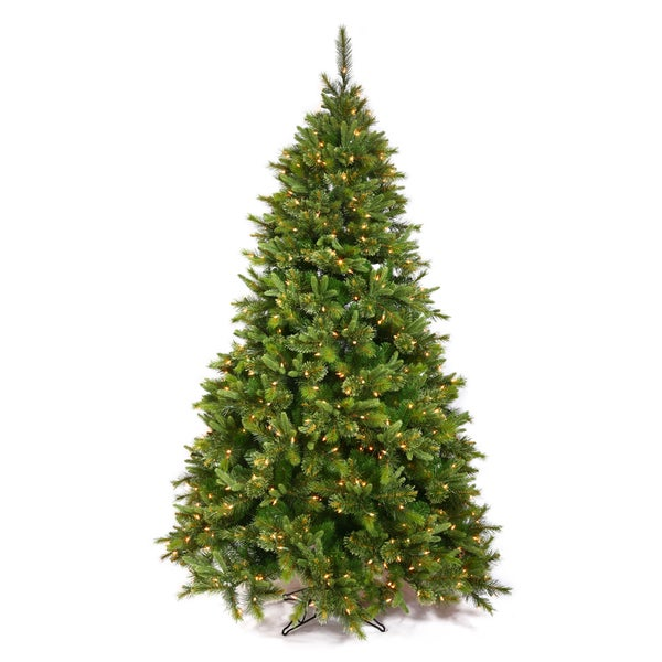 """7.5' x 55"""" Cashmere Pine Tree with 700 Warm White LED Lights"""