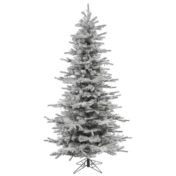 """7.5' x 50"""" Flocked Slim Sierra Tree with 1228 Tips"""