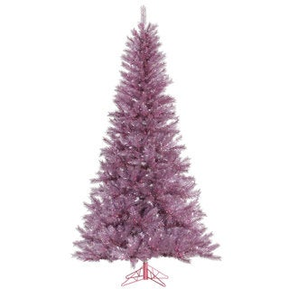 """7.5' x 48"""" Orchid Pink Tinsel Tree with 1001 Tips"""