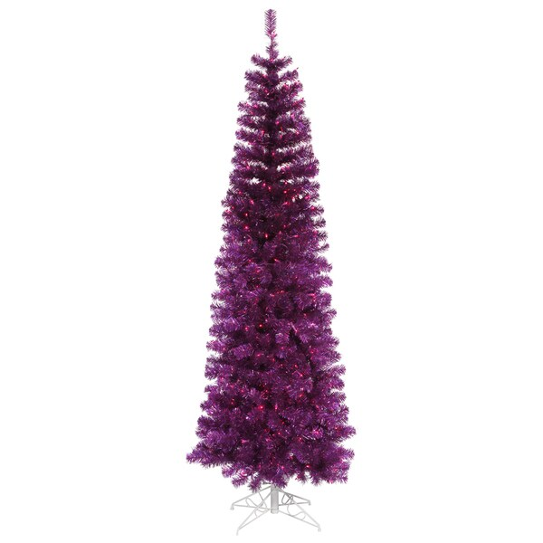 "4.5' x 20"" Purple Pencil Tree with 150 Purple Mini Lights and 299 PVC Tips"