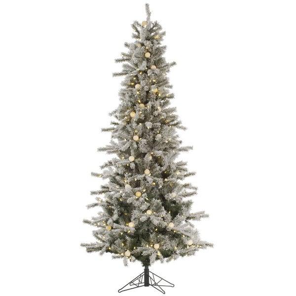 "7.5' x 44"" Flocked Slim London Fir Tree with 455 Warm White LED Lights"