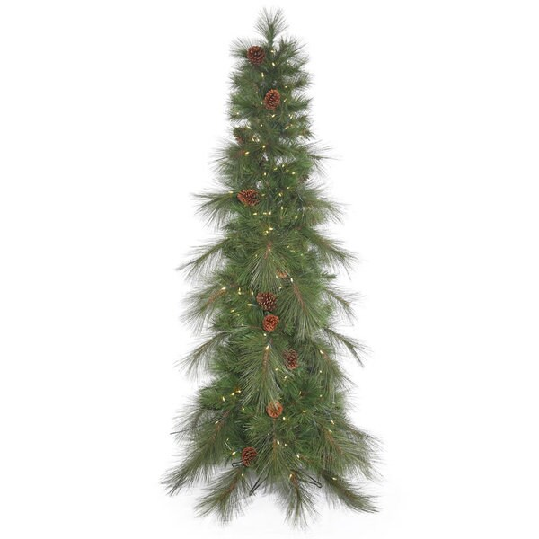 """7.5' x 37"""" Big Cascade Pine Slim Green Christmas Tree with Warm White LED Lights and Metal Stand"""