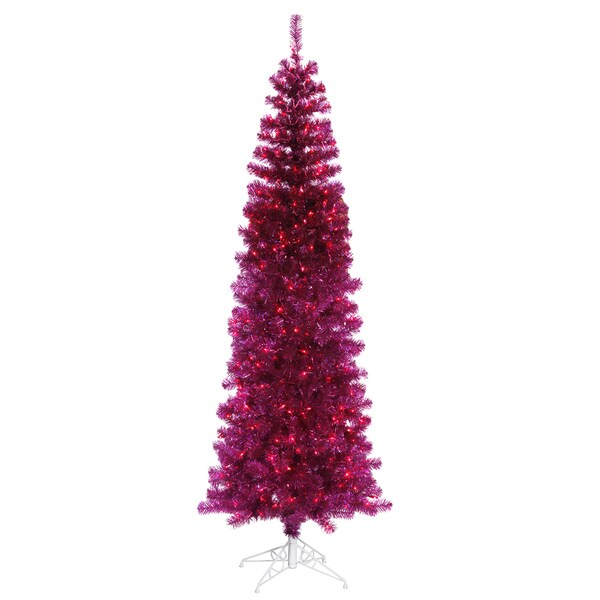 "7.5' x 34"" Fuchsia Pencil Tree with 400 Purple Mini Lights and 803 PVC Tips"